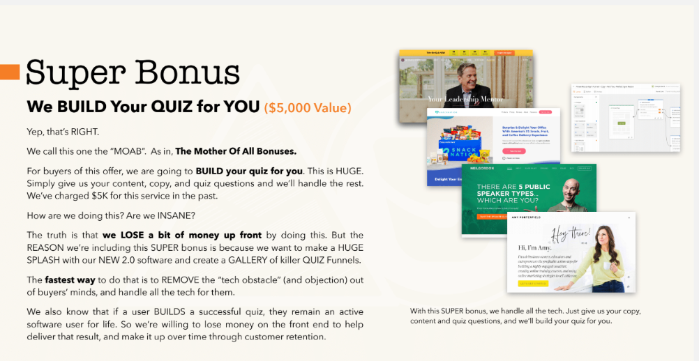 Quiz Funnels Masterclass best bonus