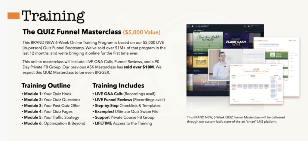 Quiz Funnel Masterclass training